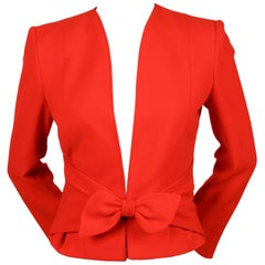 vintage VALENTINO fitted red wool jacket with tie detail