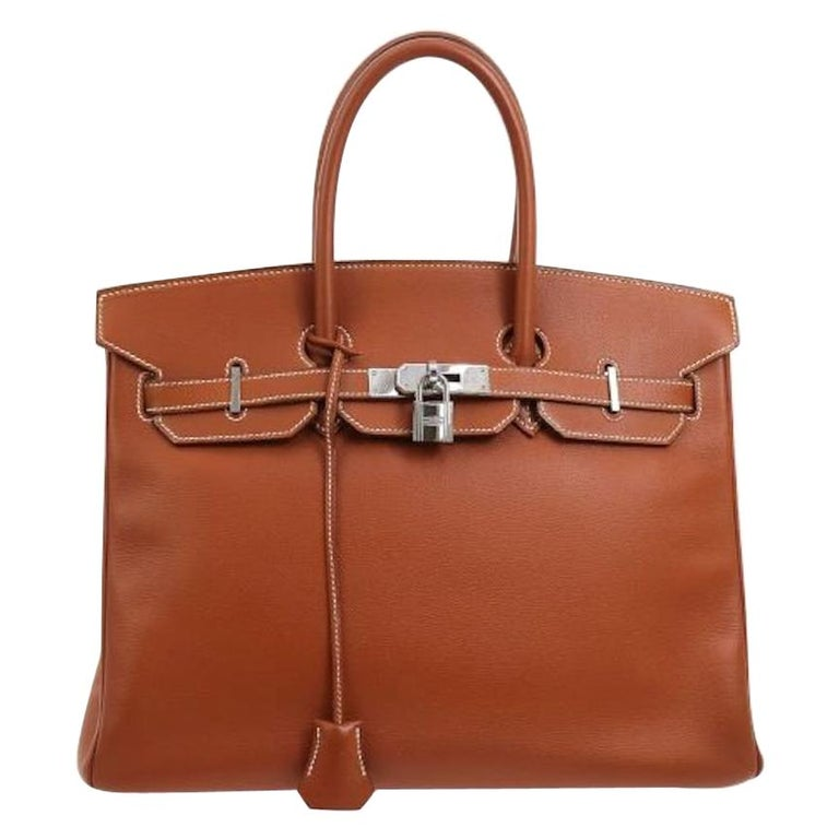 Hermes Birkin 35 Leather Silver Travel Carryall Top Handle Satchel Tote For Sale