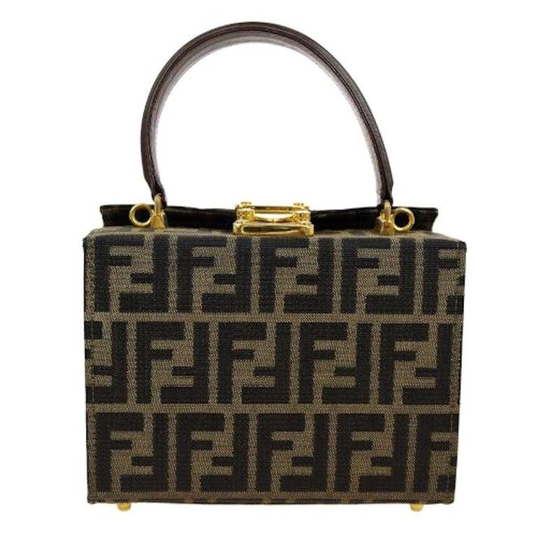 1b4ab6573 Fendi Monogram Canvas Box 2 in 1 Small Mini Top Handle Satchel Shoulder Bag  For Sale