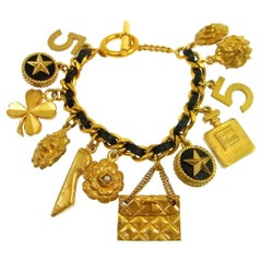 Chanel Gold Leather Multi Charm No 5 Bag Clover Evening Chain Bracelet