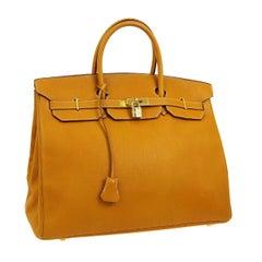 Hermes Birkin 40 Mustard Yellow Gold Carryall Travel Top Handle Satchel Tote