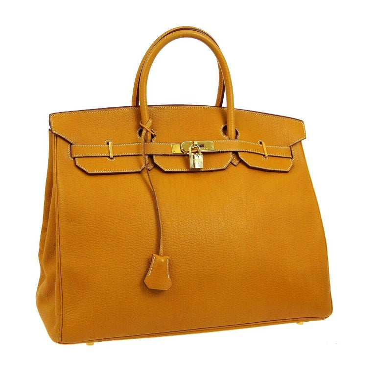 Hermes Birkin 40 Mustard Yellow Gold Carryall Travel Top Handle Satchel Tote For Sale