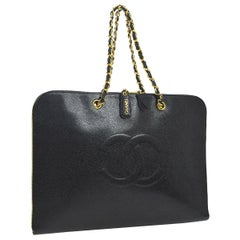 Chanel Black Caviar Chain Flap Business Laptop Carryall Travel Shoulder Bag