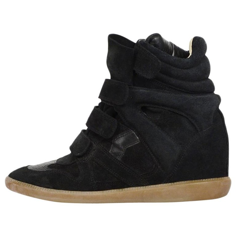 866d909a12b6 Isabel Marant Black Suede Bekett Wedge Sneakers sz 41 For Sale at ...