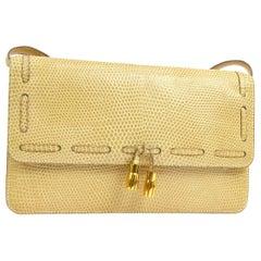 Hermes Rare Nude Ivory Lizard Tassel Envelope Clutch Evening Clutch Shoulder Bag