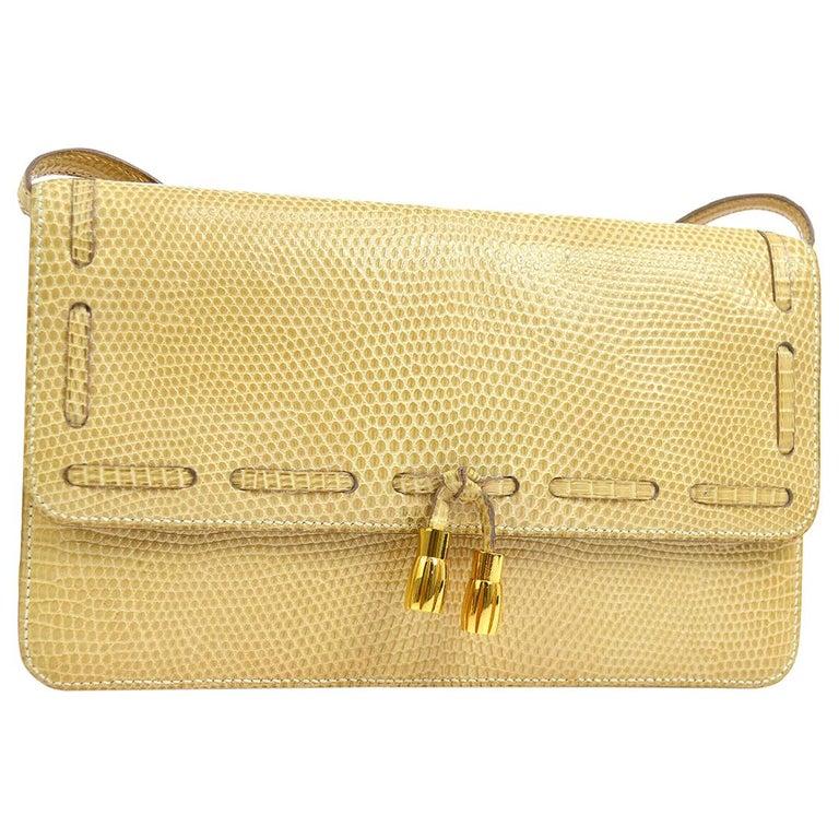 new release ever popular presenting Hermes Rare Nude Ivory Lizard Tassel Envelope Clutch Evening Clutch  Shoulder Bag