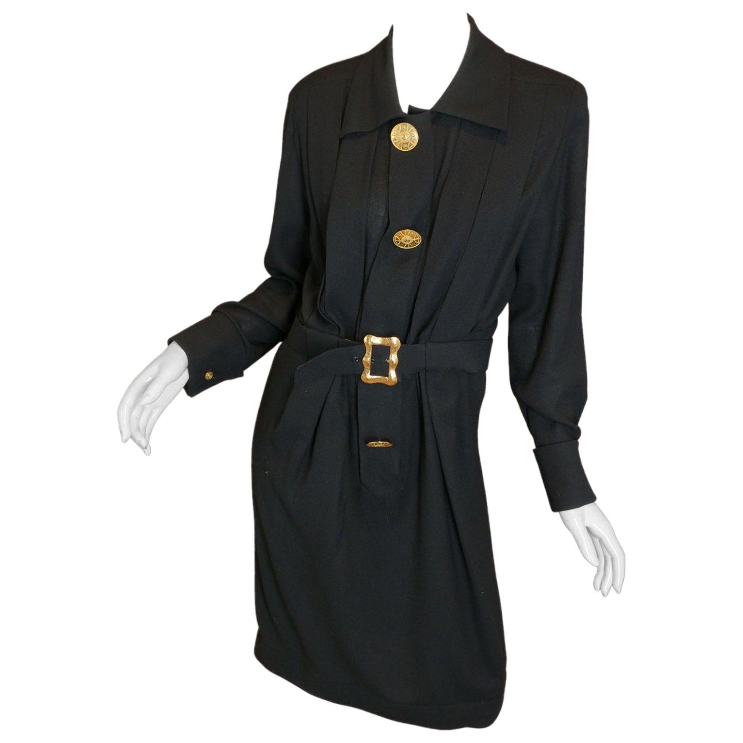 Chanel Boutique Black Belt Dress w/ Gold Hardware