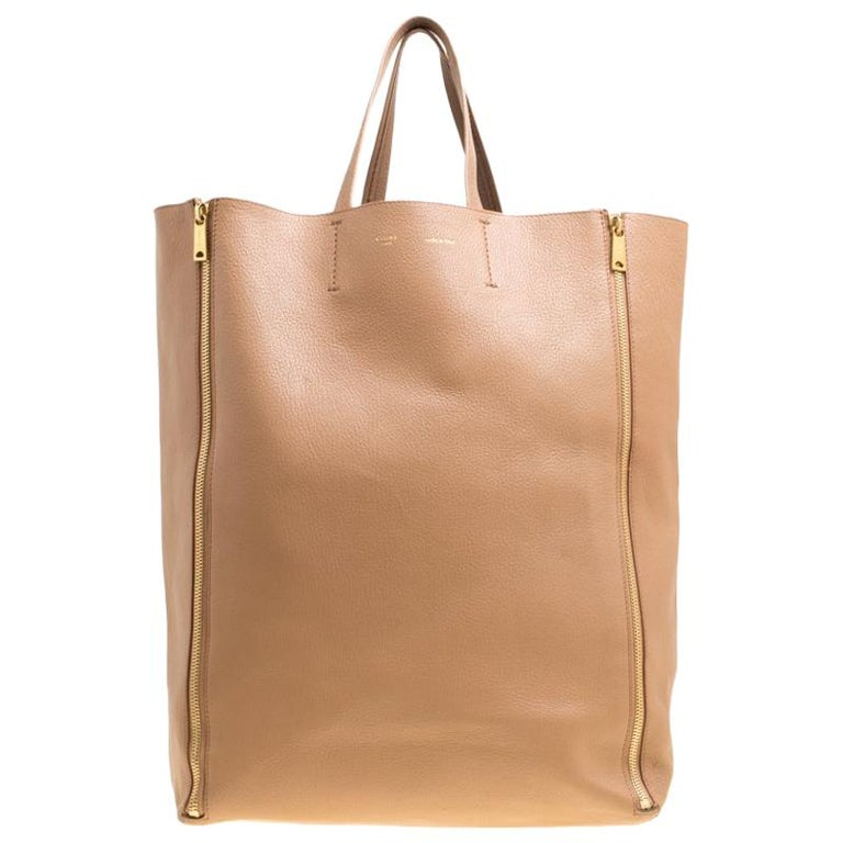 0205a4eeb Celine Phoebe Philo NEW Tan Cognac Leather Gold Zipper Carryall Travel Tote  Bag For Sale