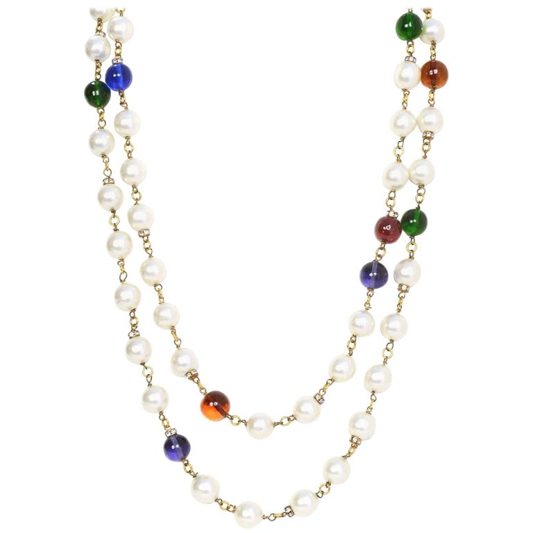 Chanel Vintage '90s Pearl and Glass Bead Double Strand Necklace For Sale