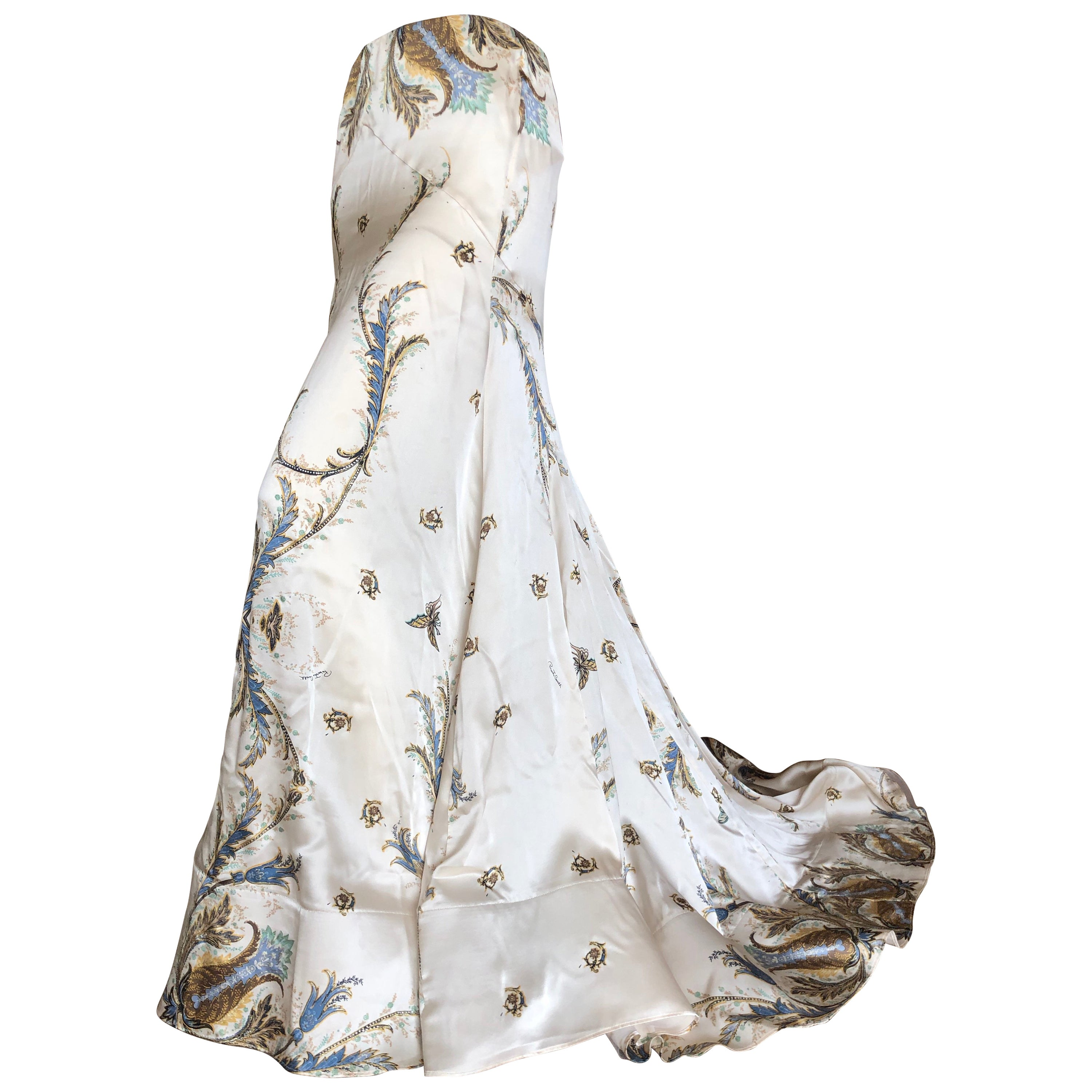 ff0420ee18 Roberto Cavalli Vintage Silk Ball Skirt with Long Train and Horsehair Hem  at 1stdibs