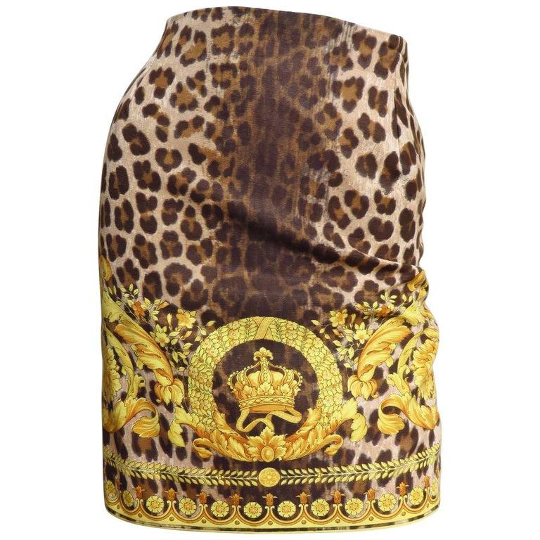 1990s Gianni Versace Leopard Baroque Print Skirt