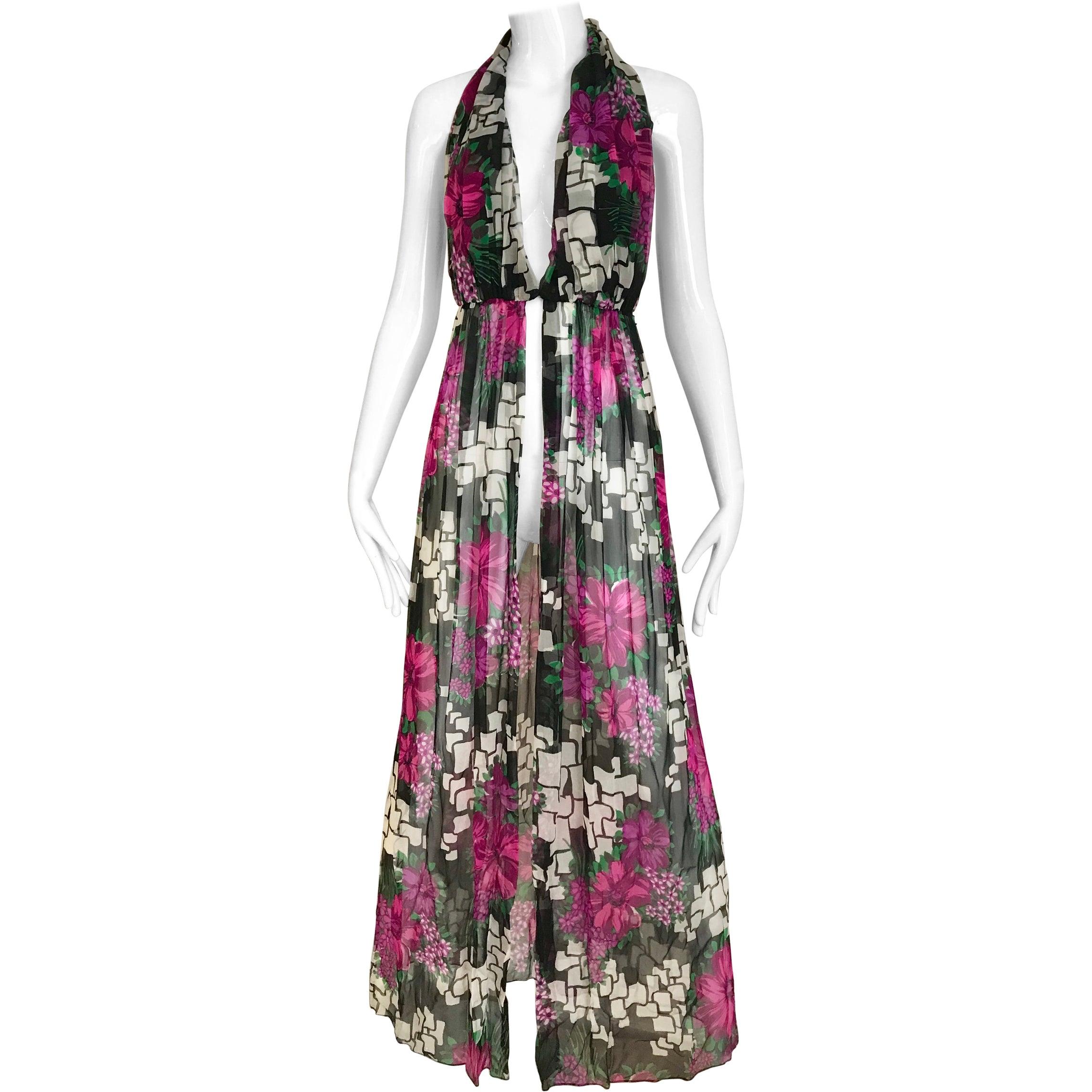 1970s Pierre Cardin Floral Print Halter Silk Vest Dress