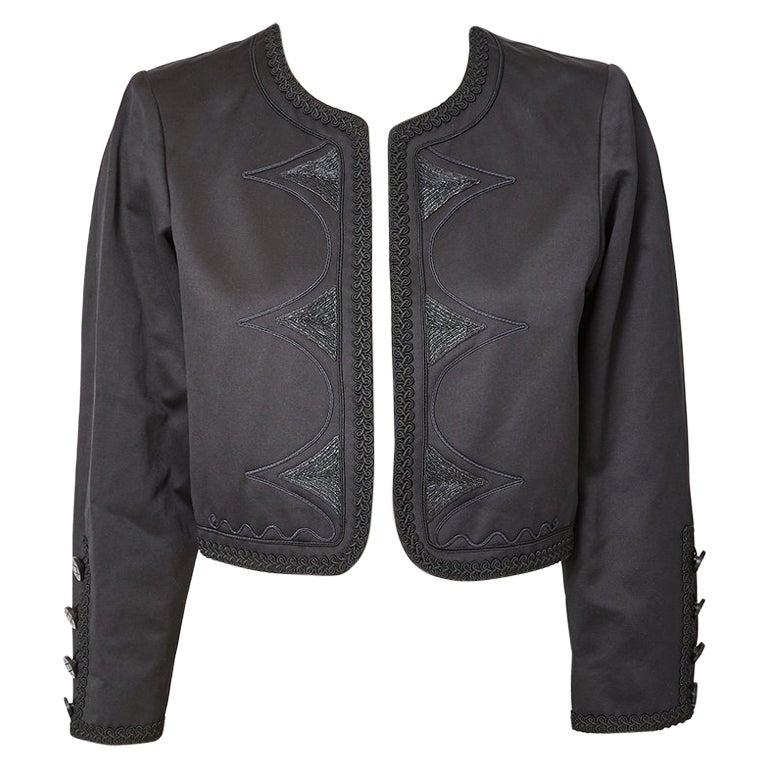 Yves Saint Laurent Black on Black Cropped Jacket