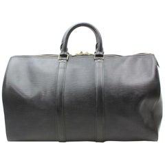 80763846e953 Louis Vuitton Keepall Duffle Noir 45 870140 Black Leather Weekend Travel Bag