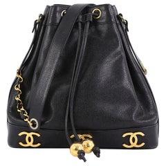 d711262634a0ab Chanel Vintage CC Drawstring Bucket Bag Caviar Medium