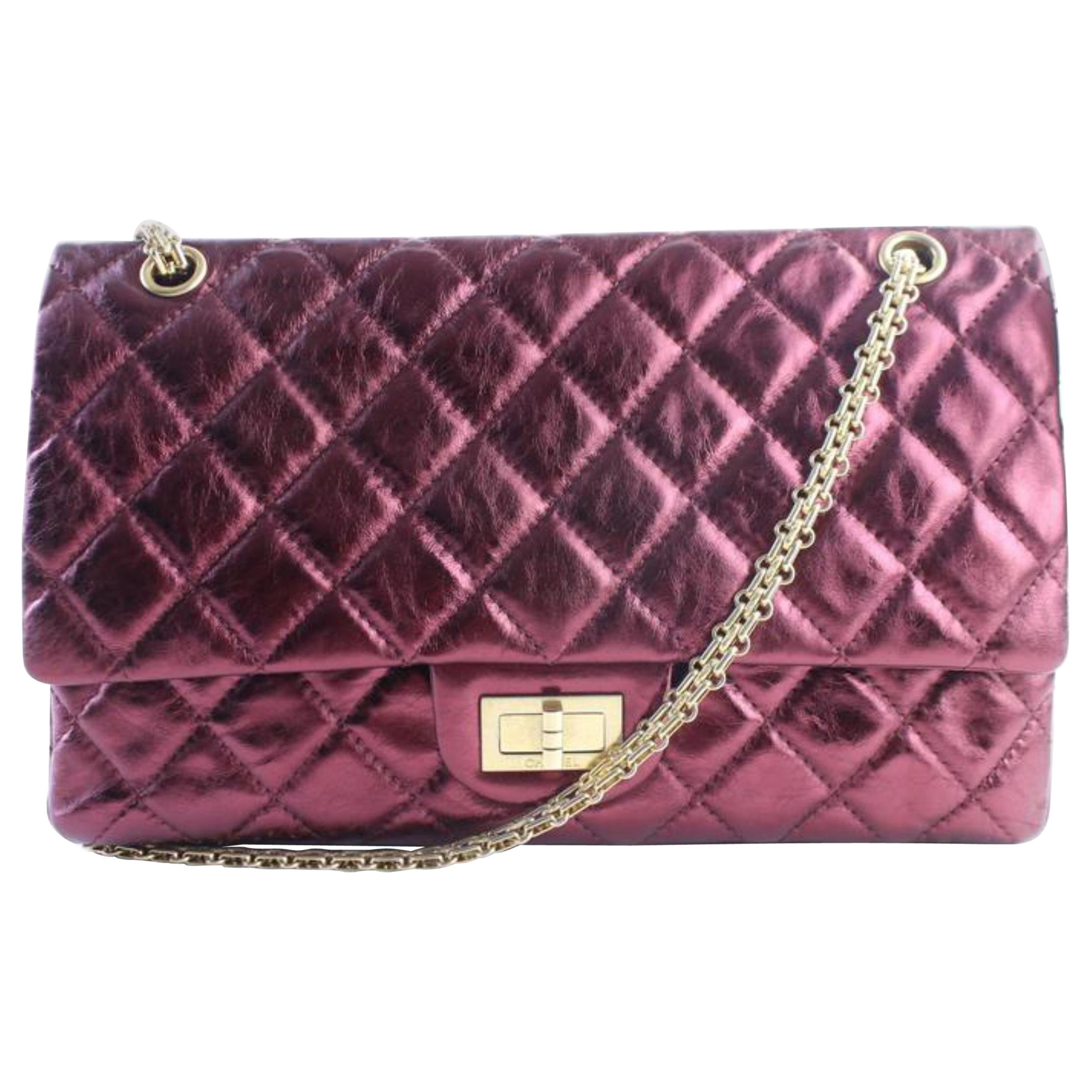 f8681fbb23a530 Chanel 2.55 Reissue 227 Flap 11cr0522 Metallic Burgundy Quilted Shoulder  Bag For Sale at 1stdibs