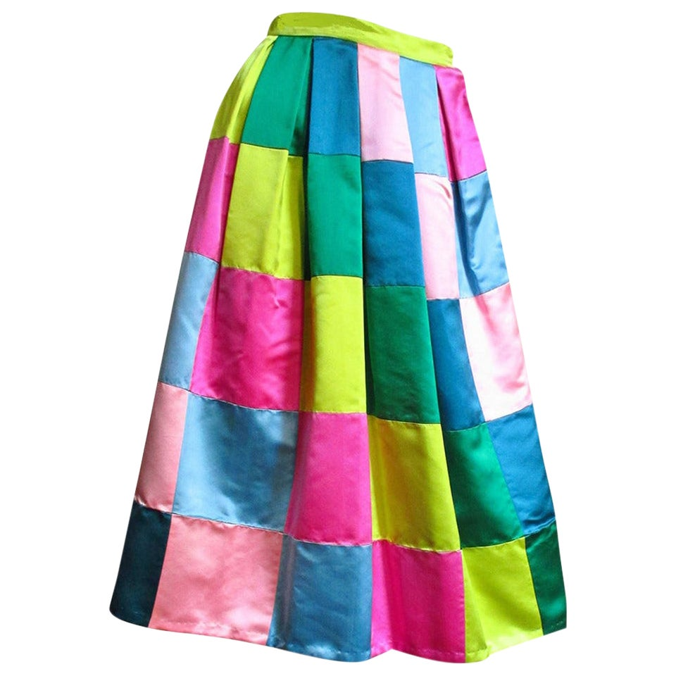 Hattie Carnegie 1950s Silk Color Block Skirt