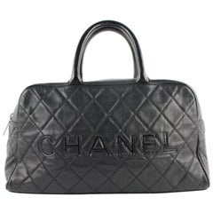 Chanel Duffle Quilted Caviar Jumbo Boston 224146 Black Leather Weekend/TravelBag
