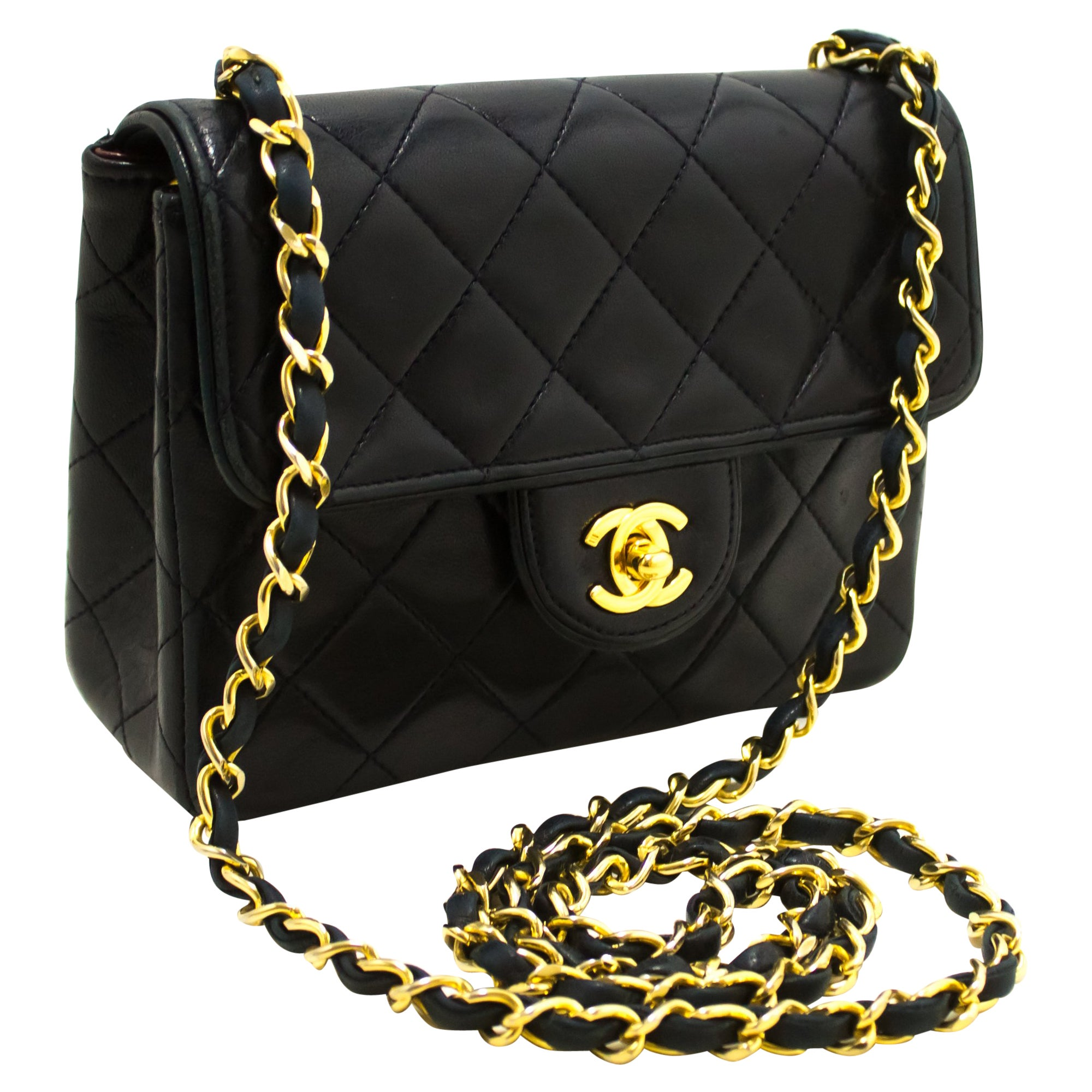 4f6eaa2882dbb2 CHANEL Navy Mini Square Small Chain Shoulder Crossbody Bag Purse For Sale  at 1stdibs