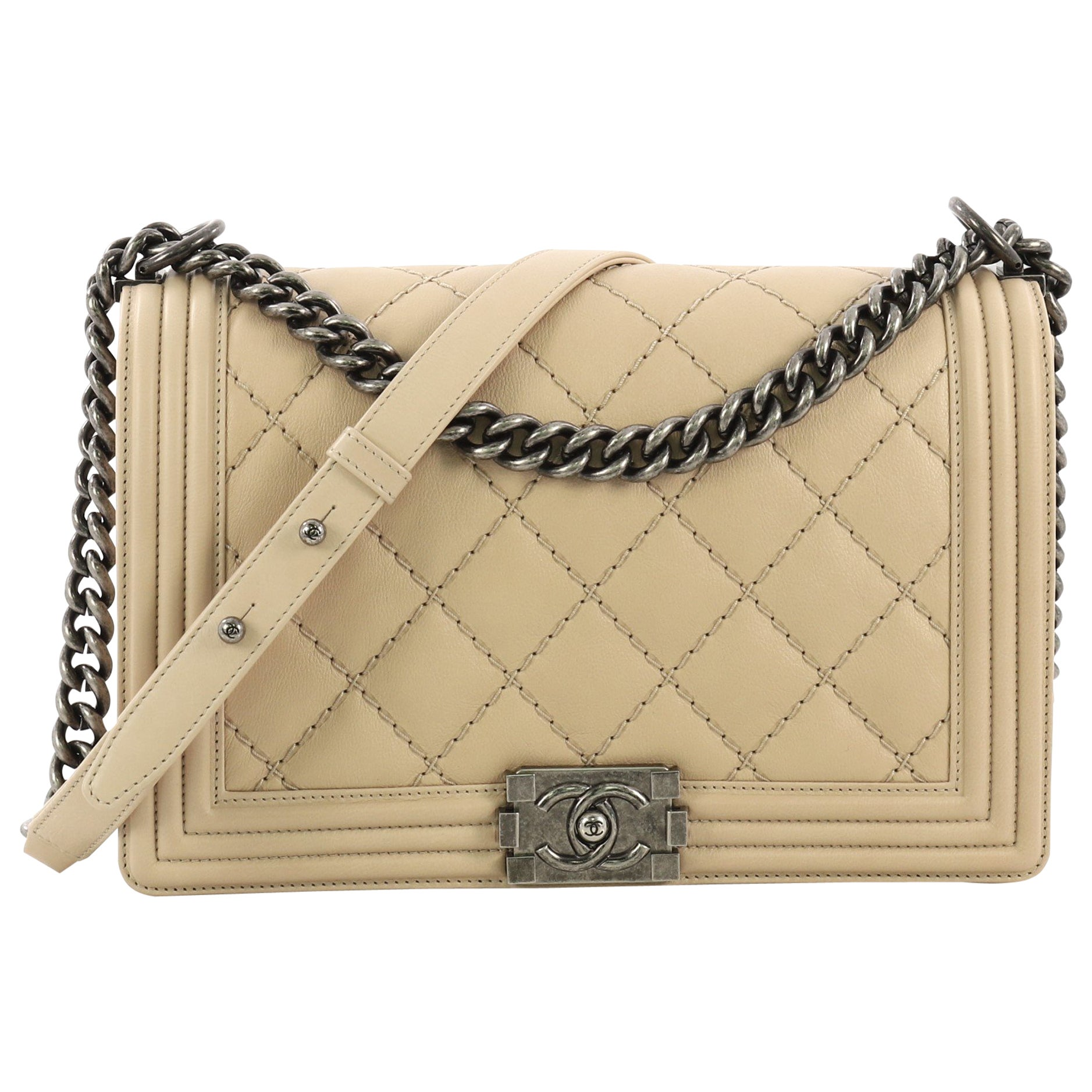 fd48934e97ee Chanel Double Stitch Boy Flap Bag Quilted Calfskin Old Medium at 1stdibs