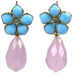 "Turquoise Pate de Verre and Rose Quartz ""Palm Beach"" Earrings, MWLC"