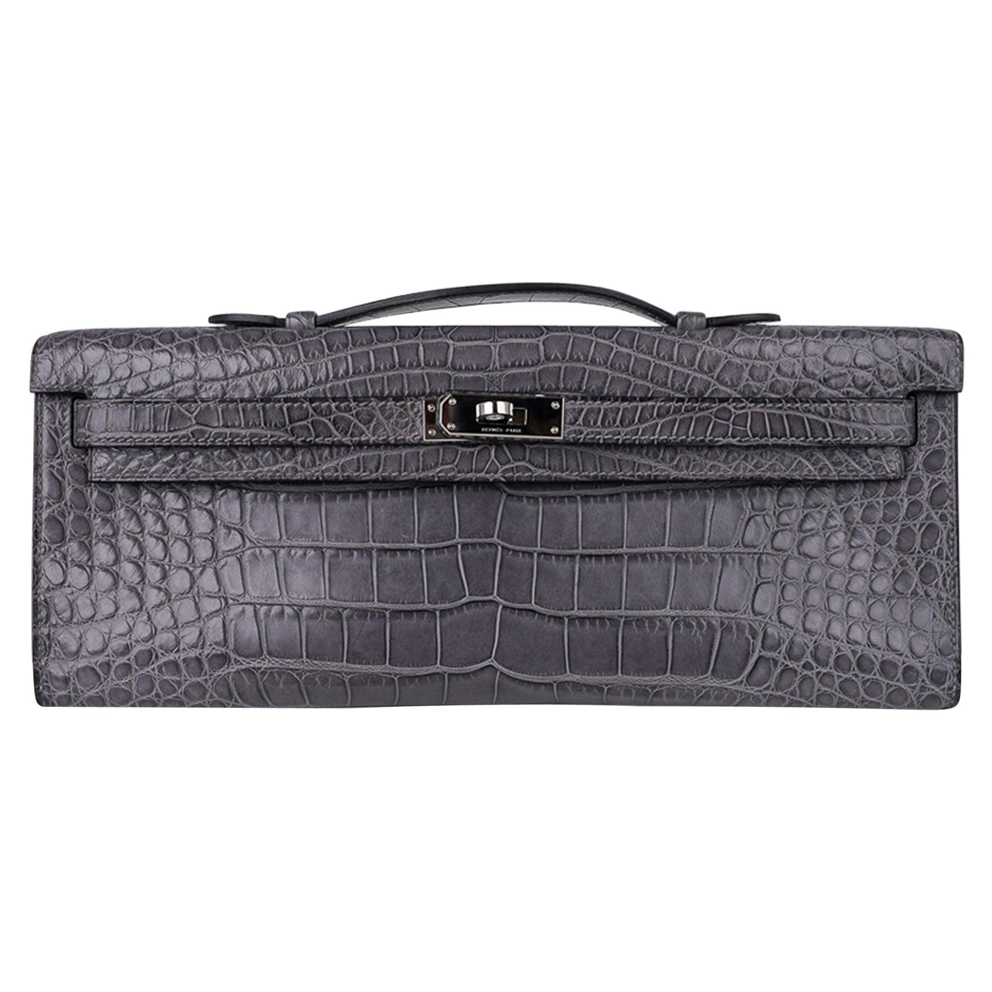 Hermes Kelly Cut Gris Paris Grey Matte Alligator Palladium Hardware Clutch Bag