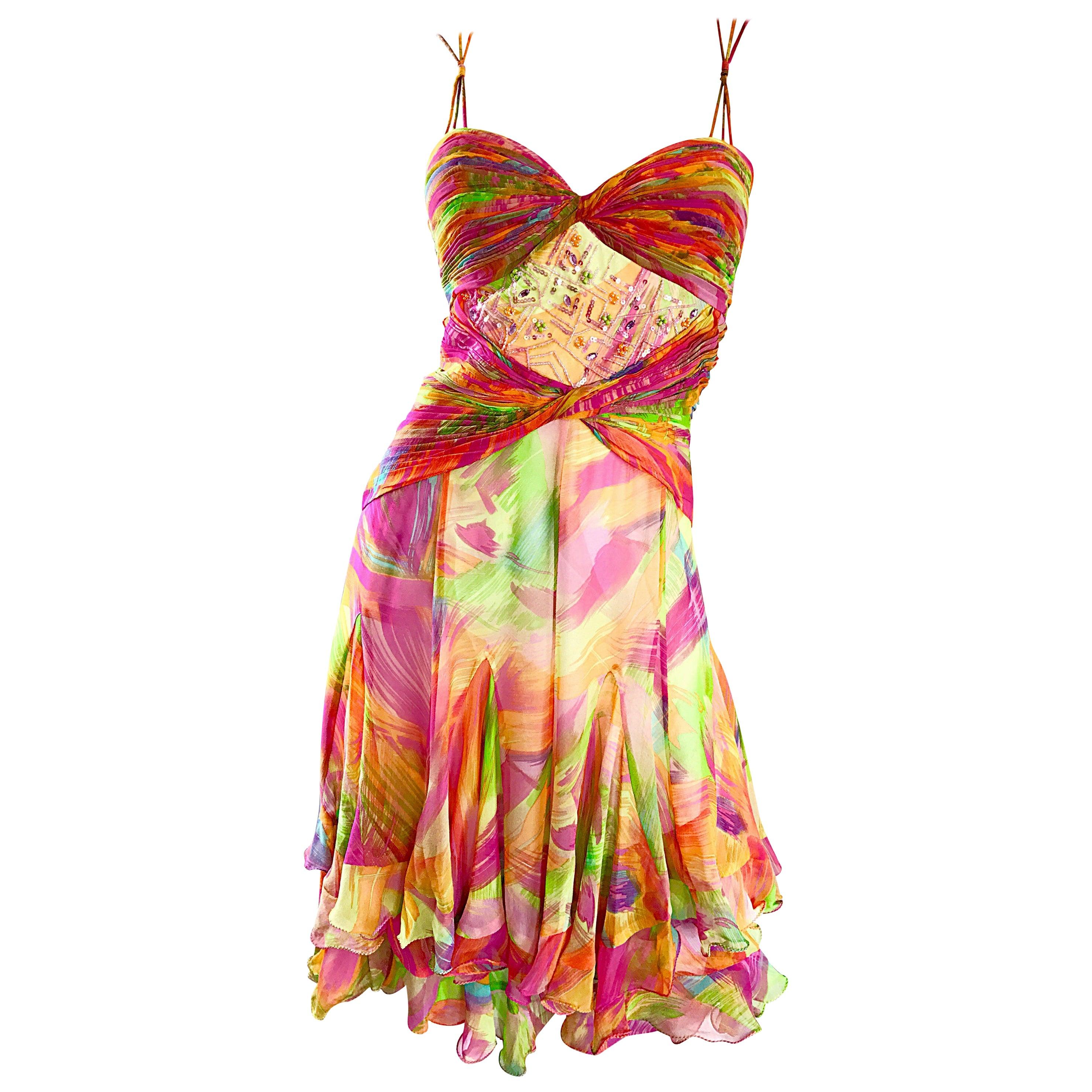 1990s Diane Freis Sz 10 Bright Sequin Beaded Silk Chiffon Handkerchief Hem Dress