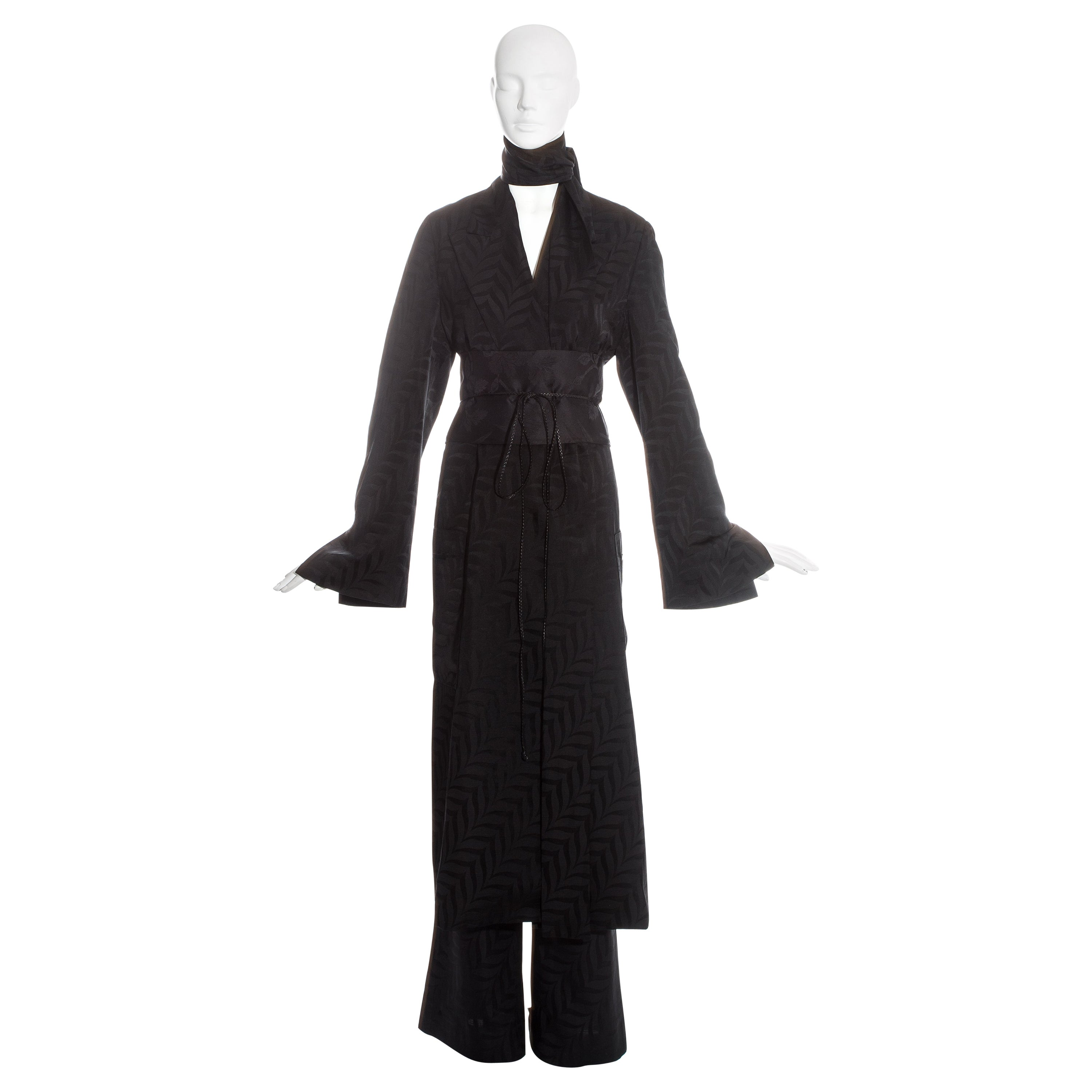 Gucci by Tom Ford black silk oversized pant suit with Obi belt, fw 2002