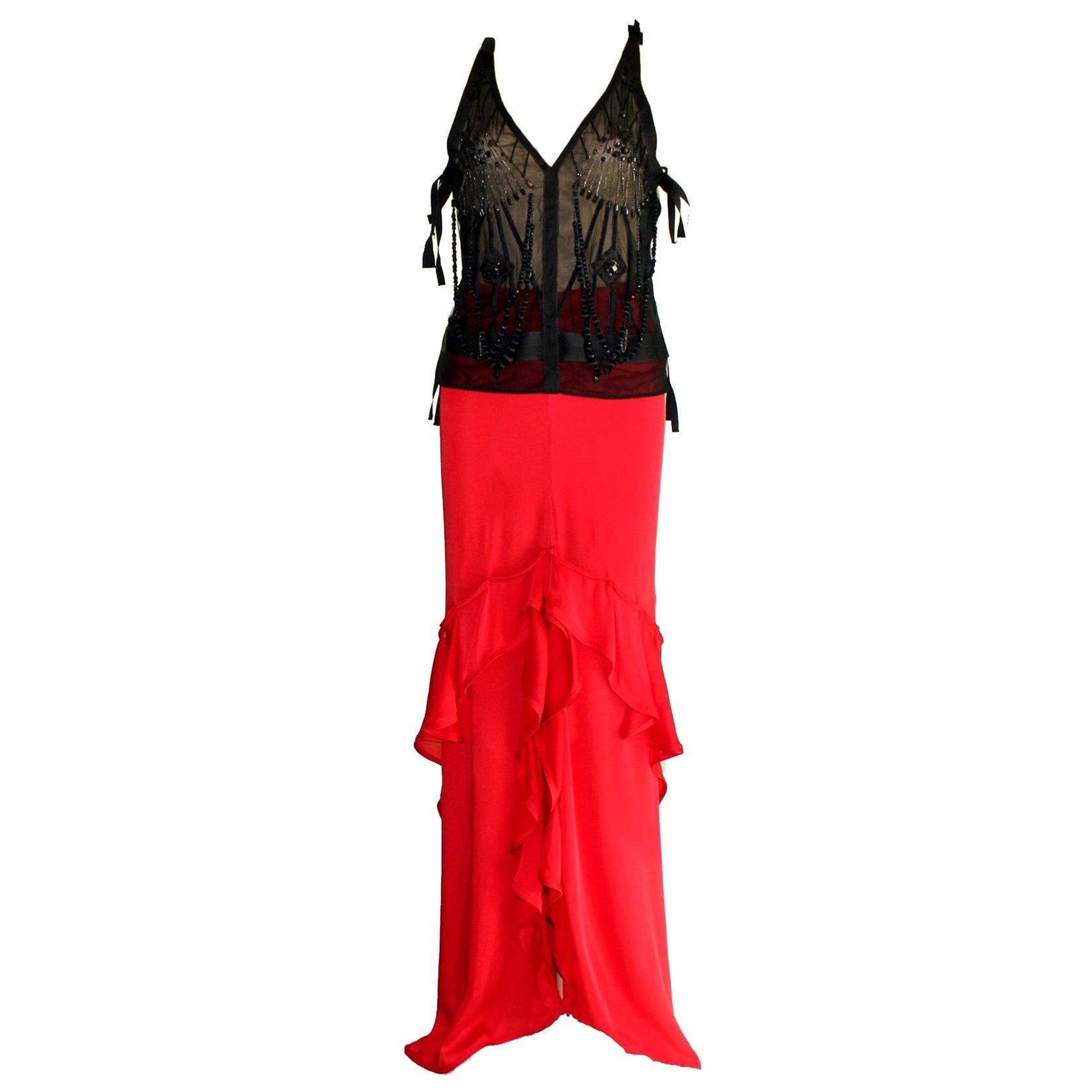Yves Saint Laurent by Tom Ford Beaded Silk Top and Skirt Ensemble