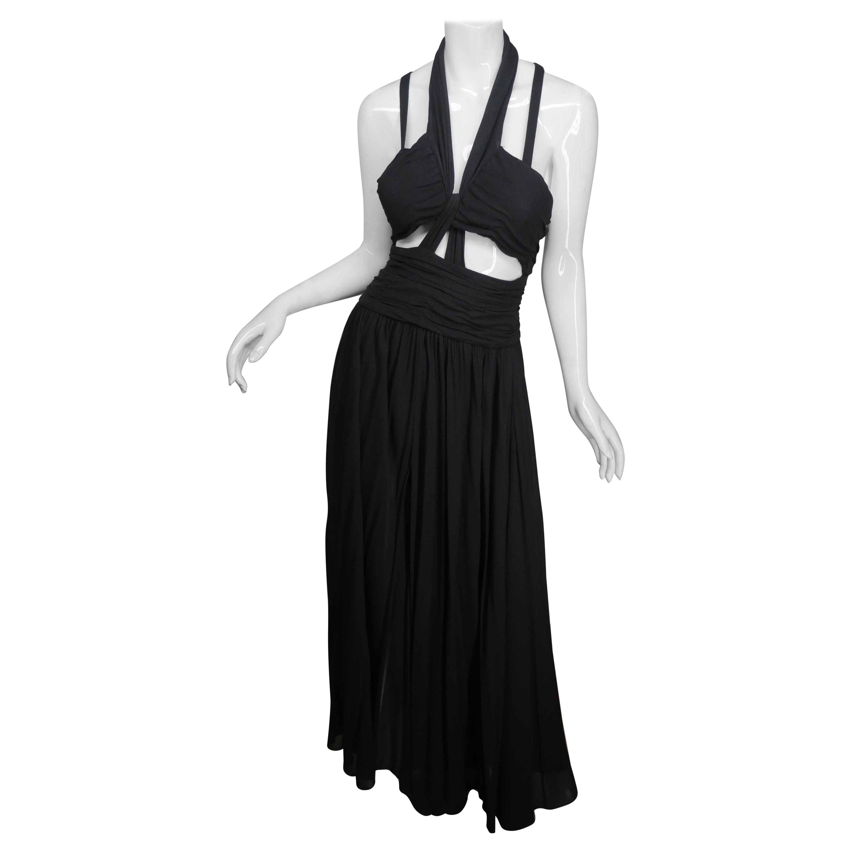 Chanel Boutique Black Halter Neck Gown circa 1995