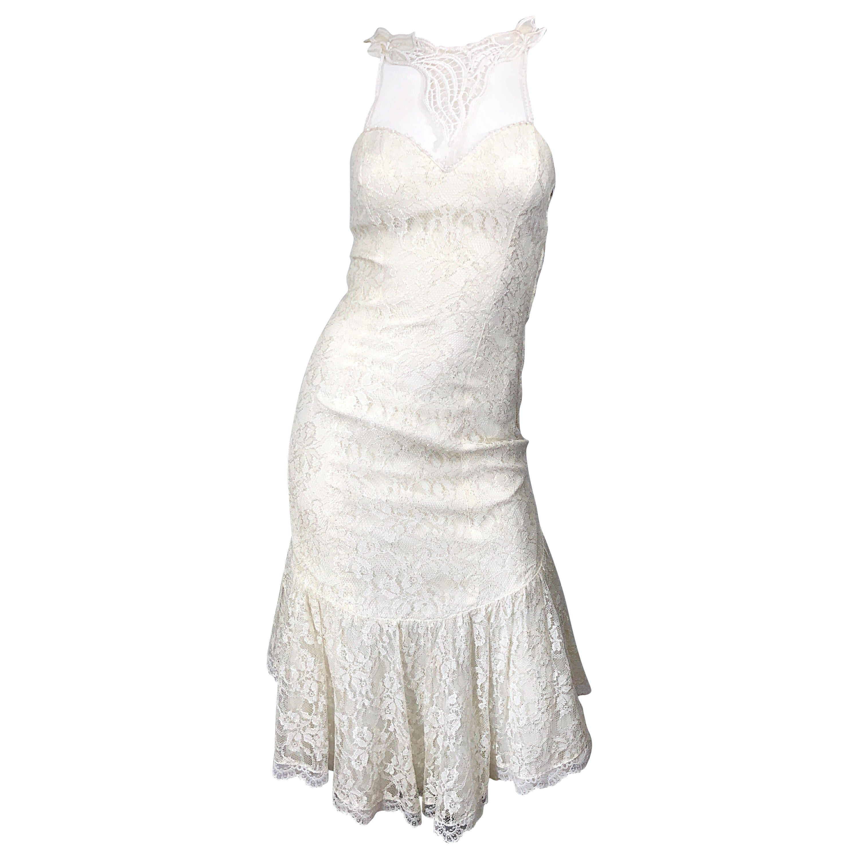1980s Samir Ivory White Lace Handkerchief Hem Embroidered Vintage 80s Dress