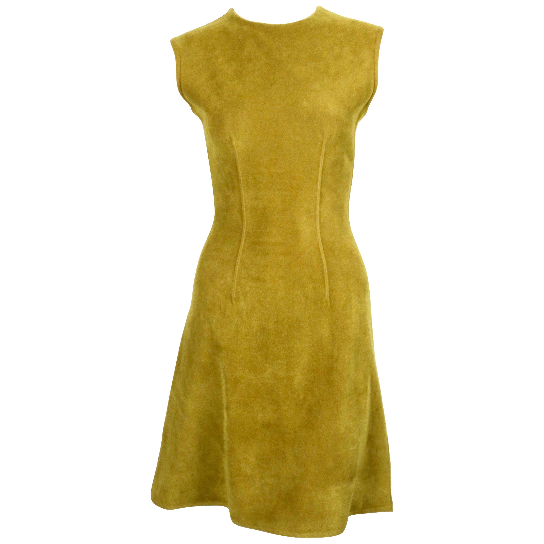 1990's AZZEDINE ALAIA chartreuse chenille dress