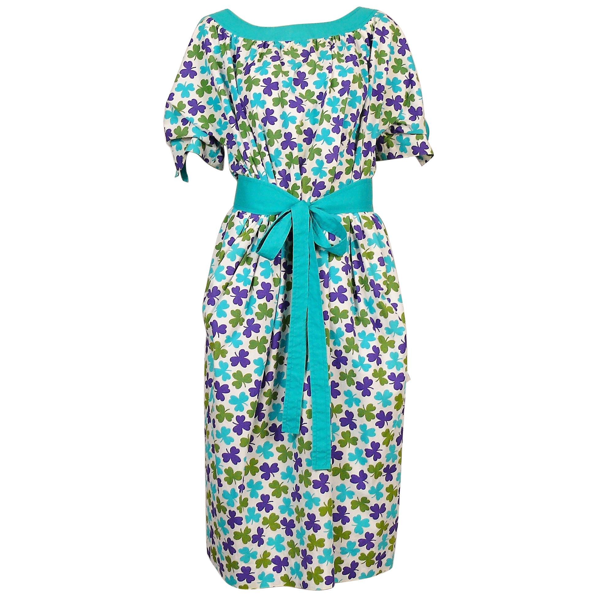 Céline Vintage Shamrock Print Cotton Tie-Belt Day Dress