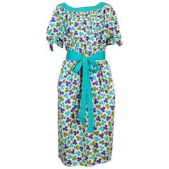 Céline Vintage Shamrock Print Cotton Tie-Belt Day Dress