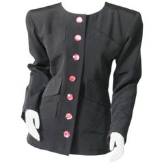 Yves Saint Laurent Haute Couture Black Silk Faille Jacket Pink Jewelled Buttons