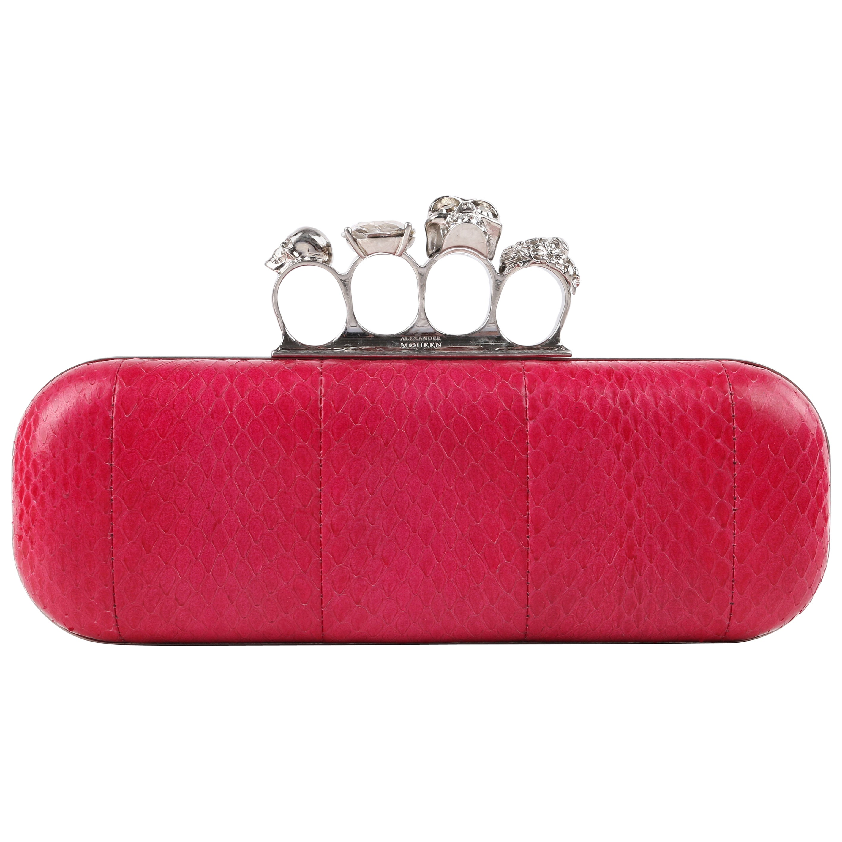 ALEXANDER McQUEEN Fuchsia Pink Python Crystal Knuckle-Duster Box Clutch