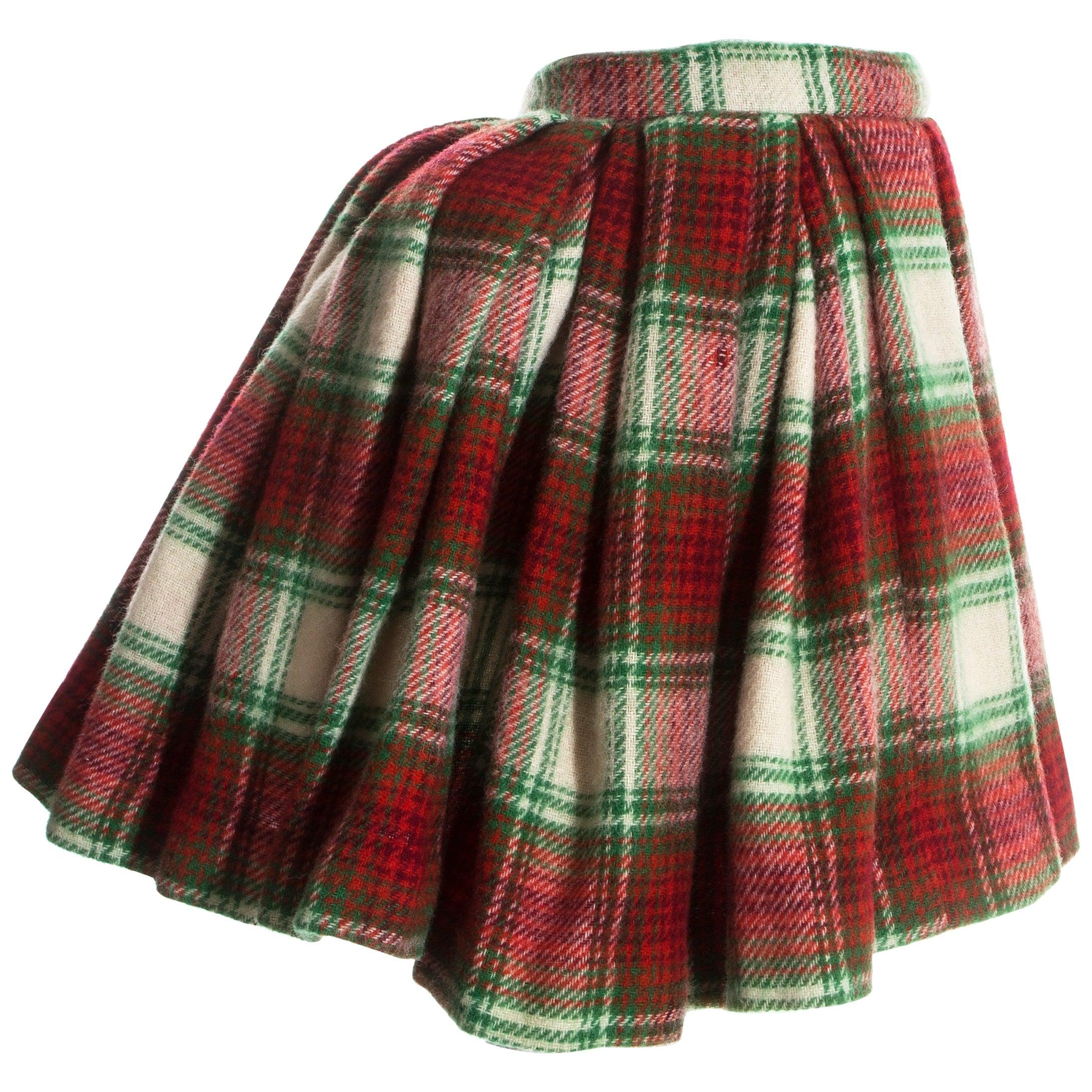 Vivienne Westwood red tartan wool pleated skirt with bustle, fw 1988
