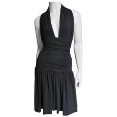 Norma Kamali 1980s Ruched Plunging Halter Dress