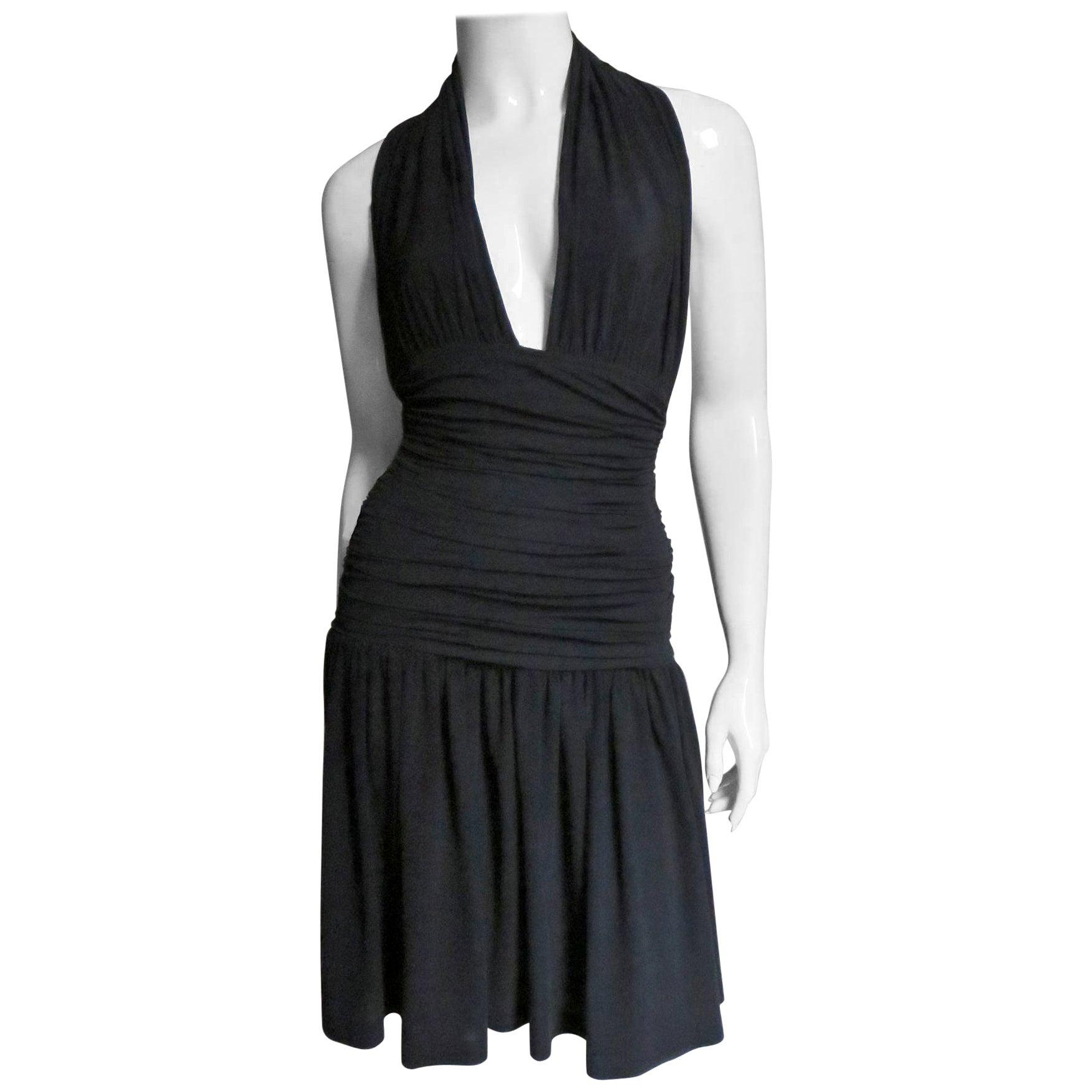 Norma Kamali Ruched Halter Dress 1980s
