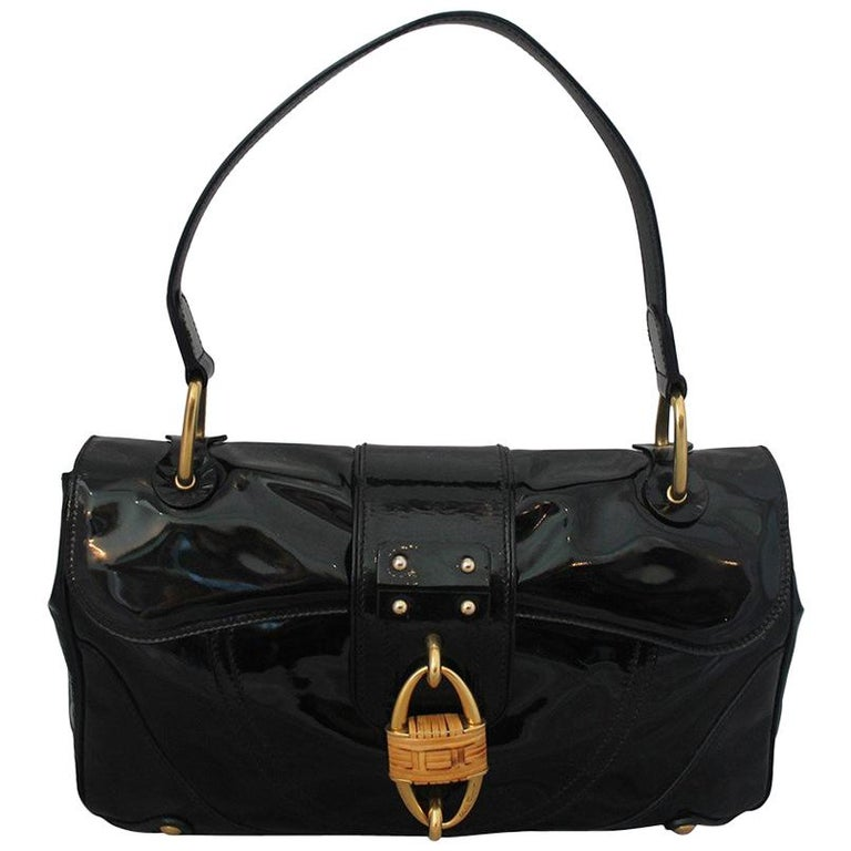 d92cd4e9f3 Salvatore Ferragamo Black Patent Leather Shoulder Bag with Bamboo Motif For  Sale at 1stdibs
