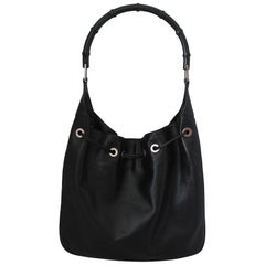 Gucci Black Leather Shoulder Bag with Black Bamboo Handle