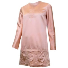 1969 Pierre Cardin Pink Satin Mini Dress with Circle Motif