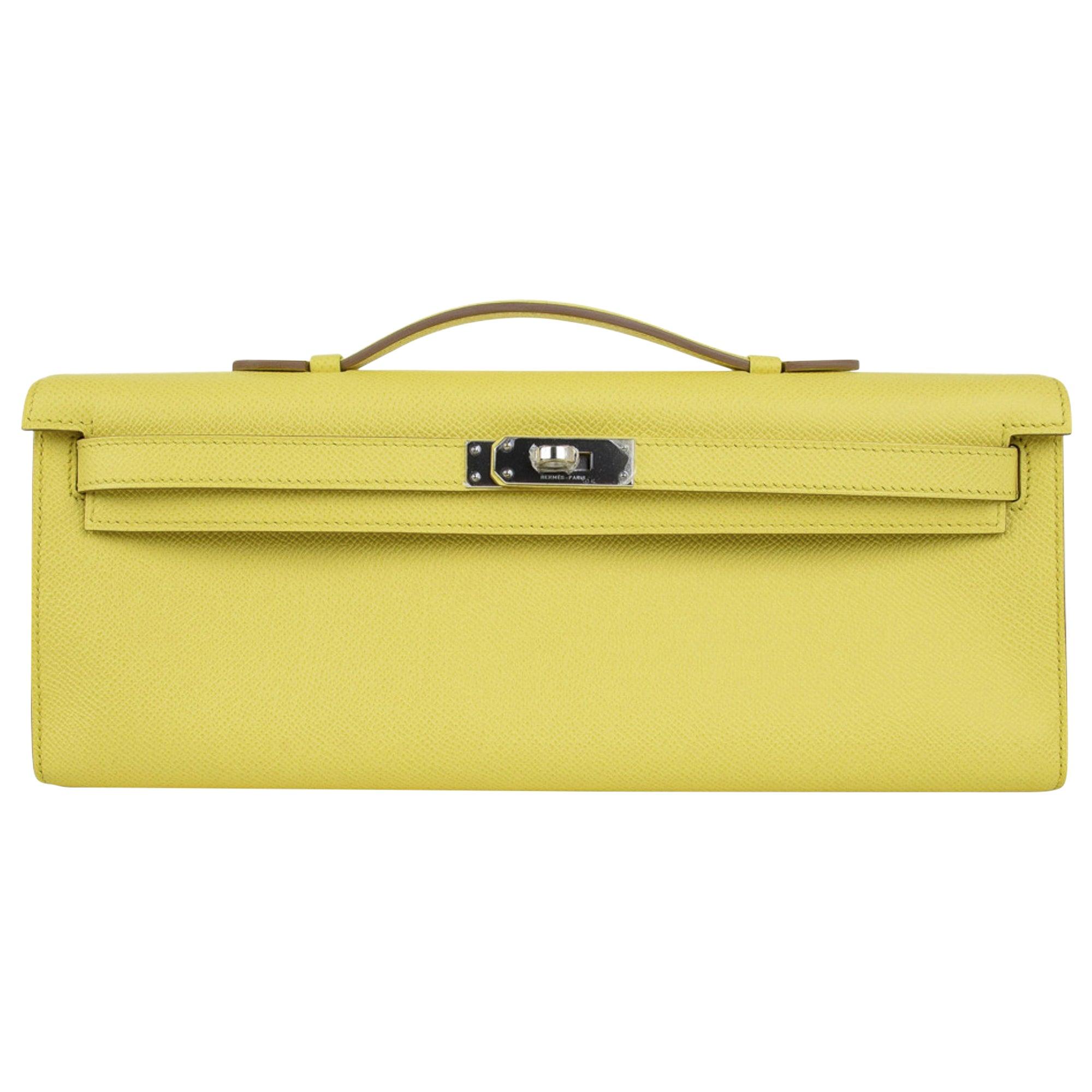 Hermes Kelly Cut Clutch Bag Fresh Souffre Yellow Epsom Palladium Rare