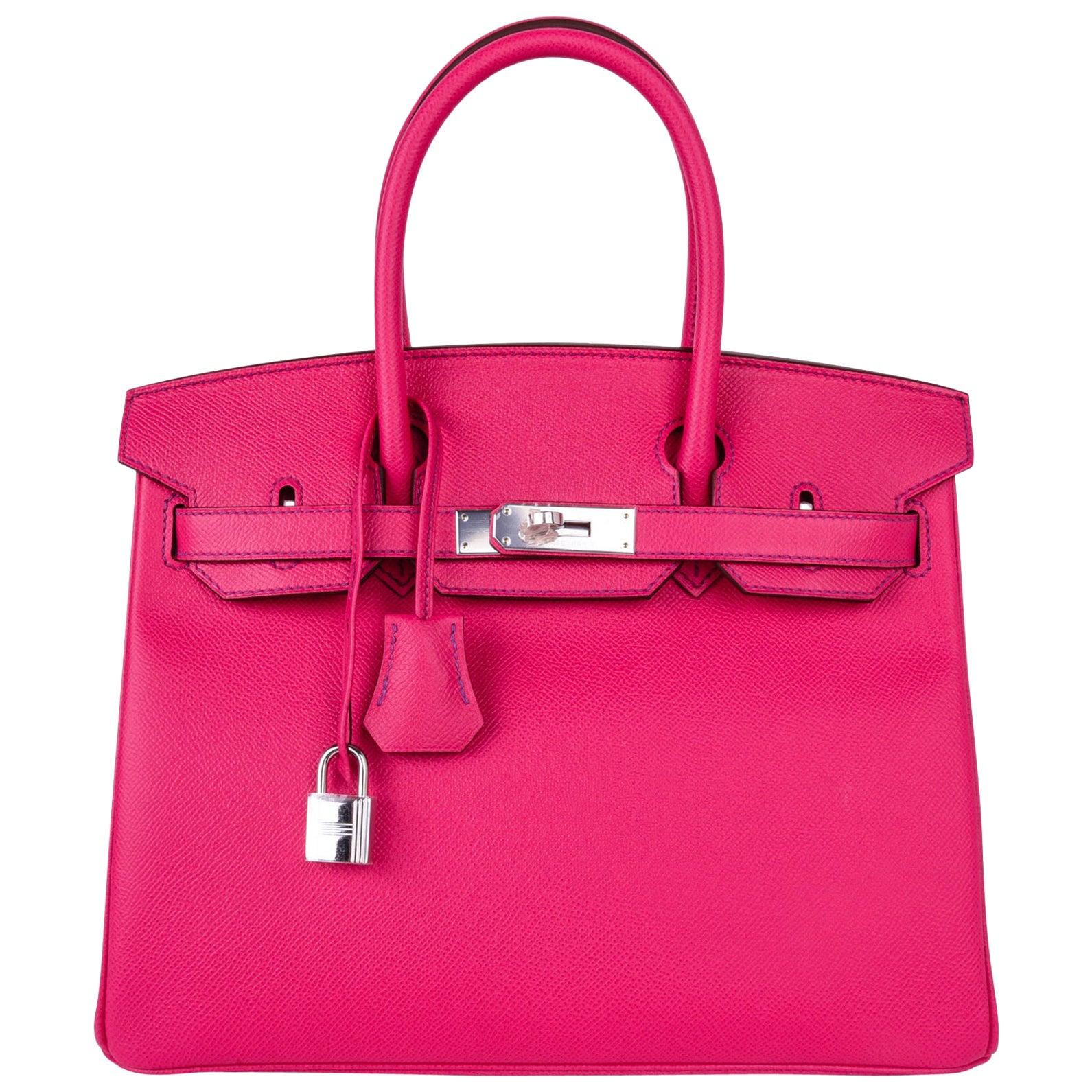 Hermes Birkin 30 Bag HSS Pink Rose Tyrien / Blue Paon Palladium Special Order