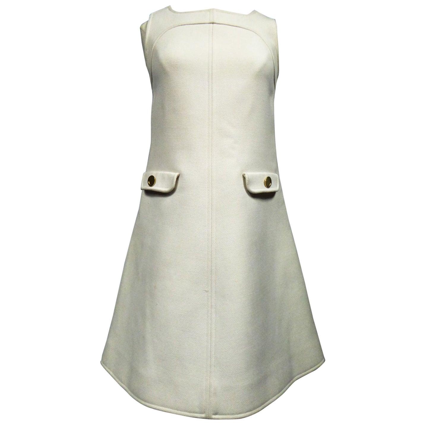 An André Courrèges Haute Couture Chasuble Mini Dress Circa 1968