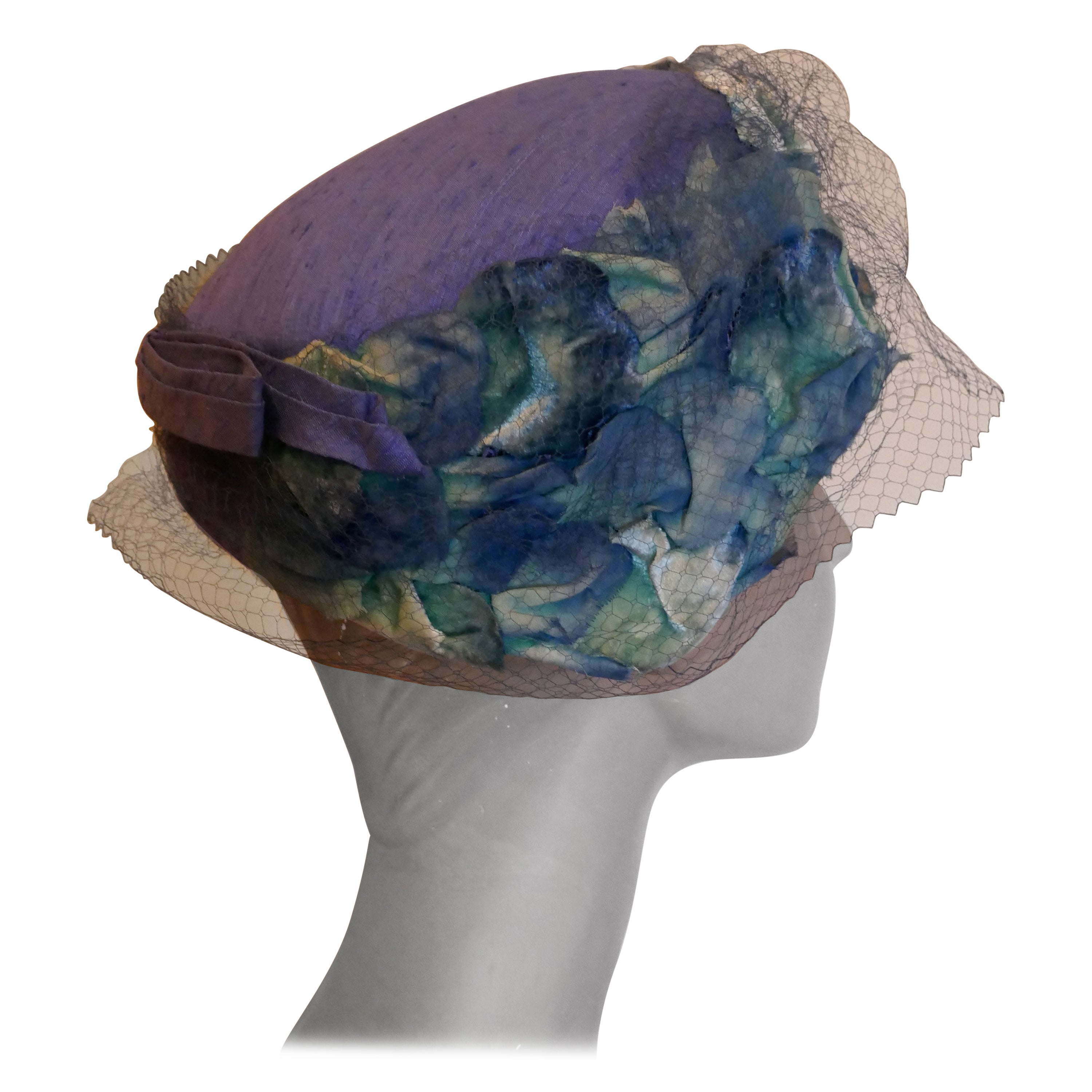 Original 1950s Blue Pill Box Hat, Decorated with Roses and Veil, by Connor