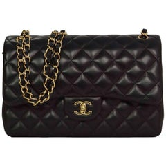 Chanel '15 Black Quilted Lambskin Jumbo Classic Double Flap Bag