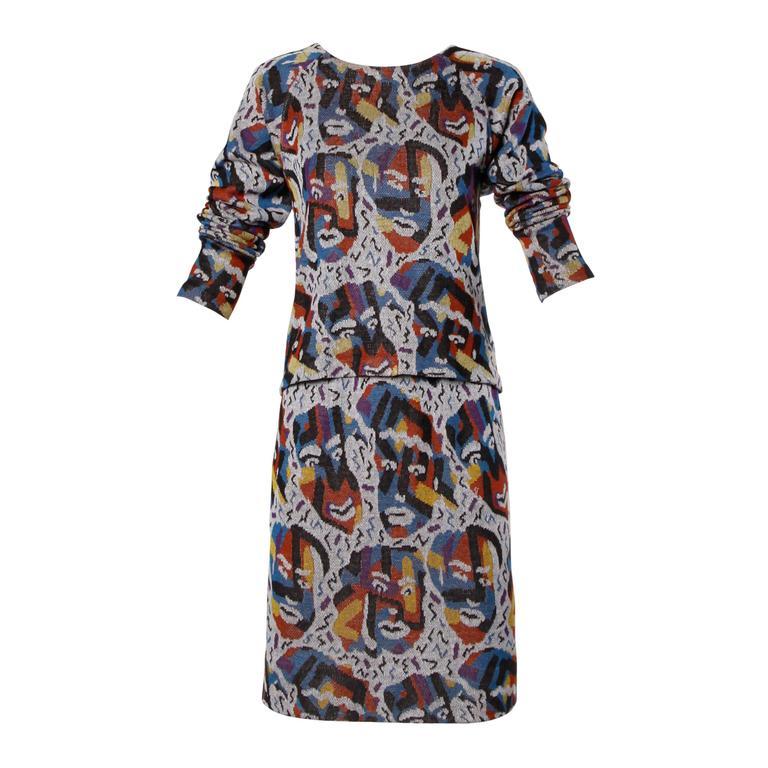 Missoni Vintage Knit Novelty Faces Top + Skirt 2-Piece Ensemble