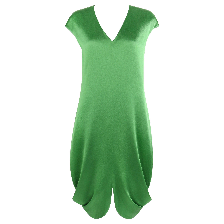 ALEXANDER McQUEEN S/S 2009 Green Silk Cap Sleeve Cowl Shift Dress NWT