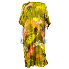 A Beach Dress in Pleated Sun Printed Polyester Circa 1970